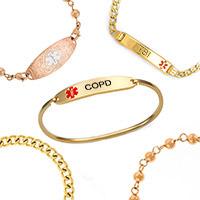 gold medical alert bracelets