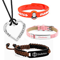 diabetic jewelry including diabetic bracelets and necklaces