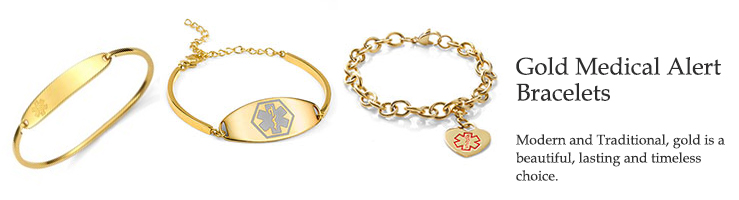 emergency ID gold medical alert bracelets