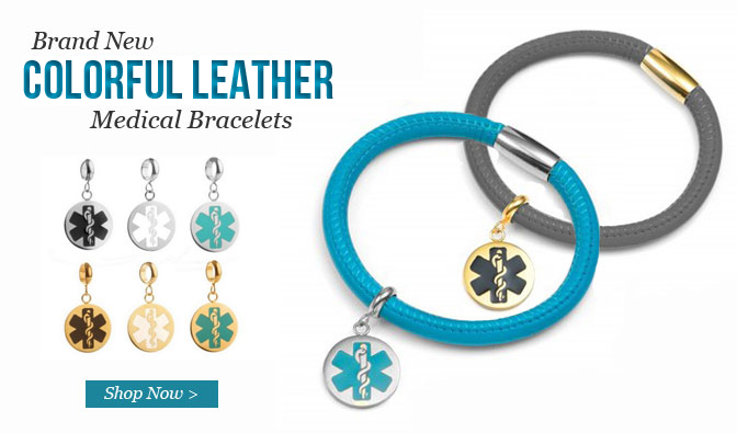 Fashionable, stylish lamb leather medical id bracelets
