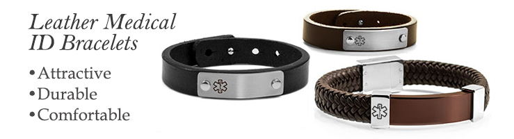 personalized leather medical ID bracelet