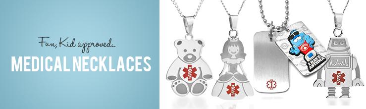 medical alert child ID necklace