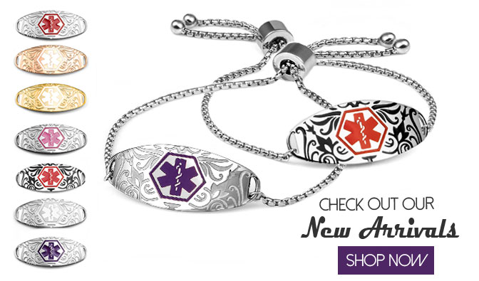 New etched medical id tags and bracelets