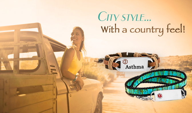 City style with country feel leather medical id bracelets