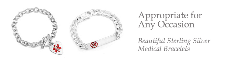 Custom Sterling Silver Medical Id Bracelets