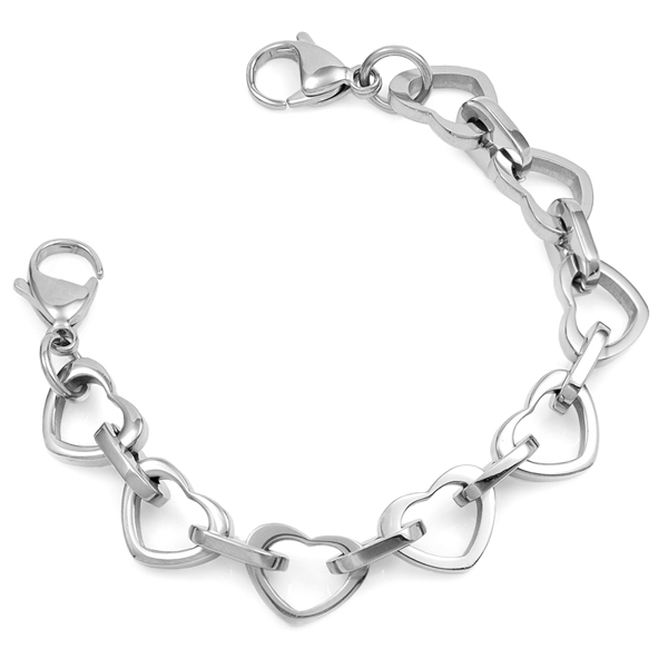 Silver Heart Link Bracelet with Medical Tag inset 1