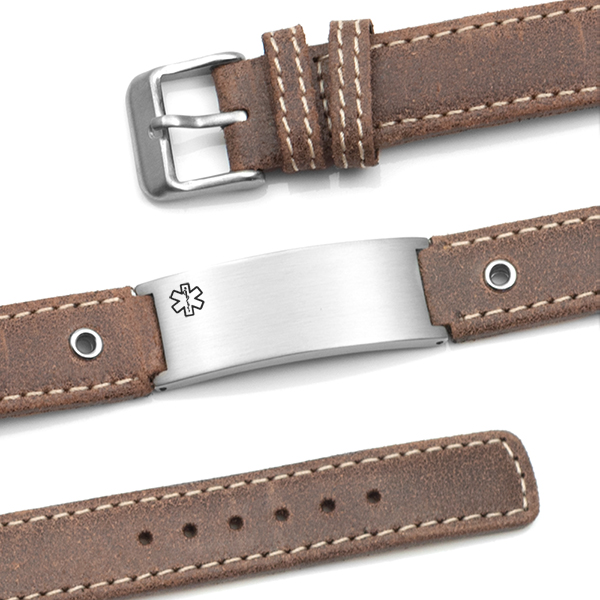 Casual Brown Leather Medical Alert Bracelet inset 1