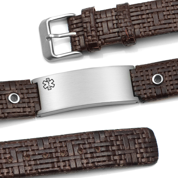 Classy Dark Brown Leather Medical ID Bracelet  inset 1