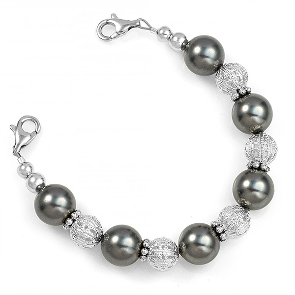 Glam Black Beaded Medical Alert Bracelet  inset 1