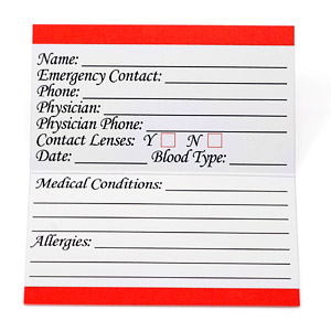 Emergency Medical ID Card for Wallet Pack of 50 inset 1
