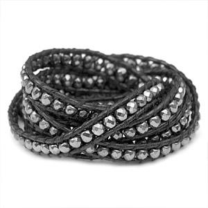 Hematite Bead Black Leather Multi Wrap Medical ID Bracelet inset 1
