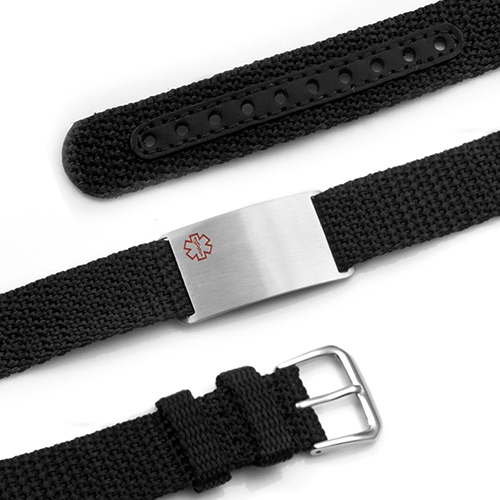 Adjustable Black Polyester Medical ID Bracelet  inset 1