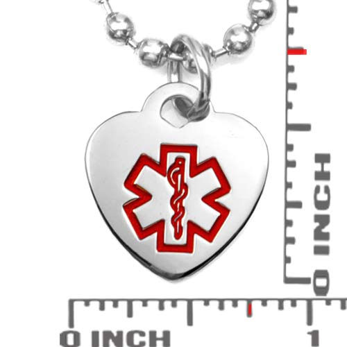Petite Stainless Steel Heart Medical ID Pendant inset 1
