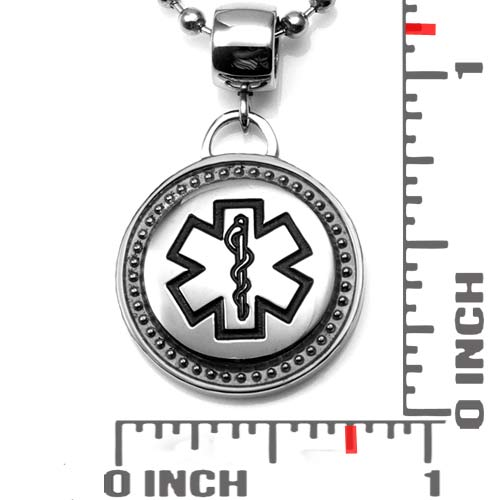 Black Medical Bordered Steel Large Bail Pendant inset 1