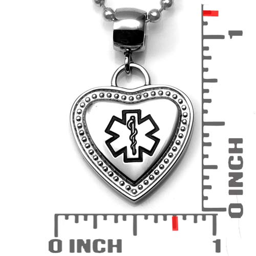 Black Medical Bordered Heart Large Bail Pendant inset 1