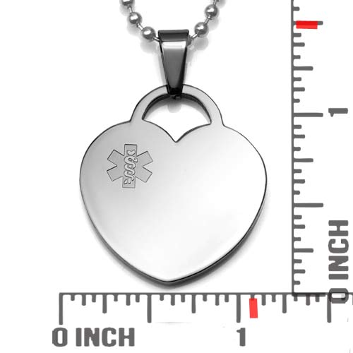 Medical ID Heart Necklace  inset 1