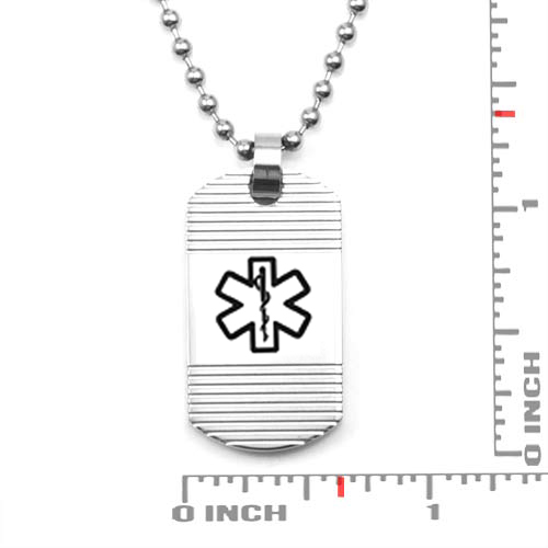 Grooved Stainless Medical Alert Dog Tag Necklace inset 1