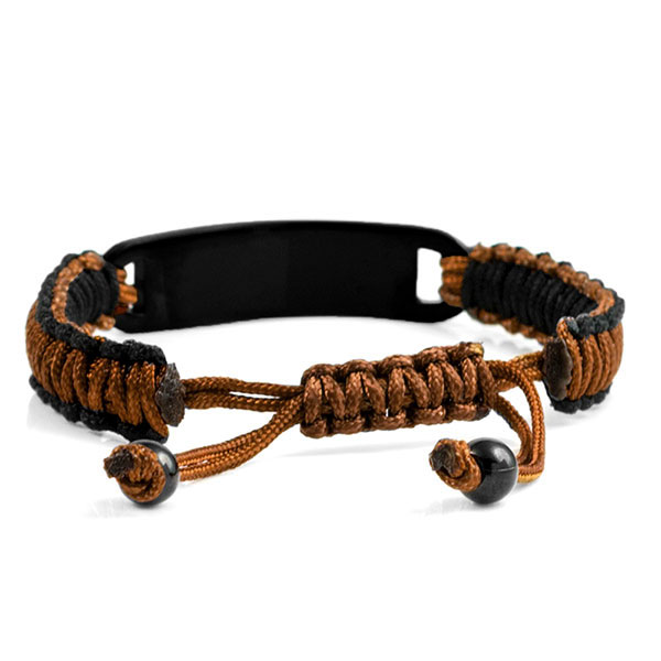 Chocolate and Black Drawstring Macrame Epilepsy Bracelet inset 1