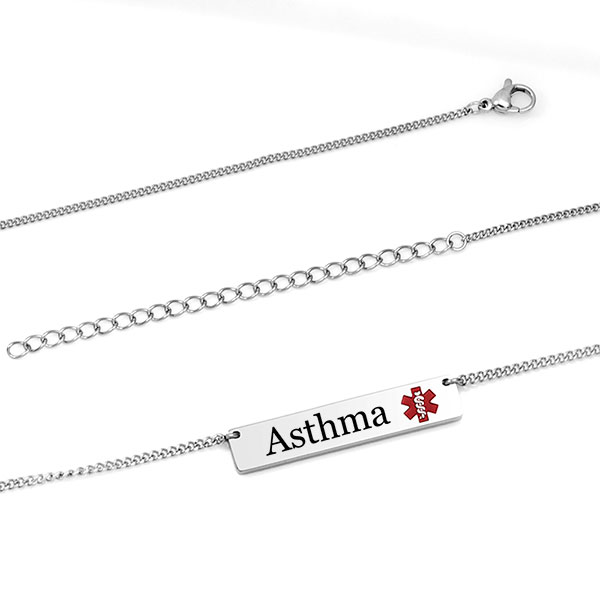 Red Alert Bar Necklace for Asthma inset 1