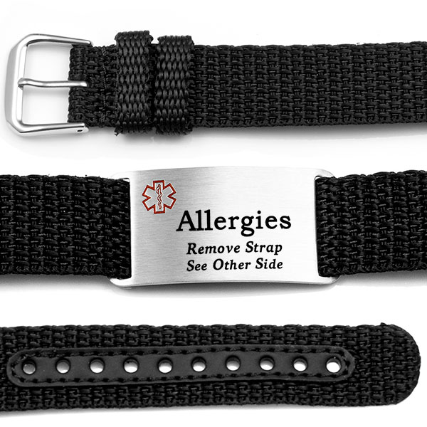Adjustable Black Polyester Allergy Bracelet inset 1