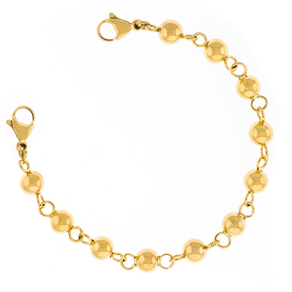 Gold Beaded Medical Bracelet with Designer Tag inset 1