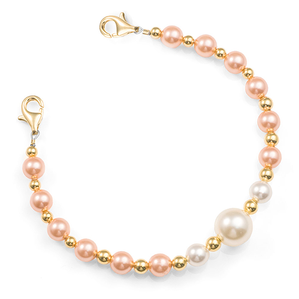 Peach & Pearl Beaded Medical Alert Bracelet inset 1