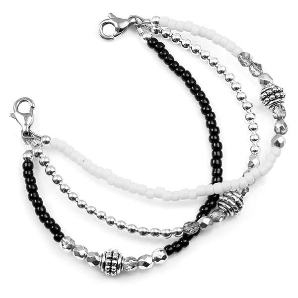 Black and White Bead Medical Alert Bracelet inset 1