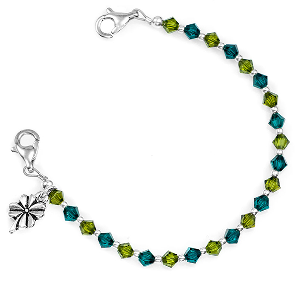 Lucky Clover Shamrock Bead Medical ID Bracelet inset 1
