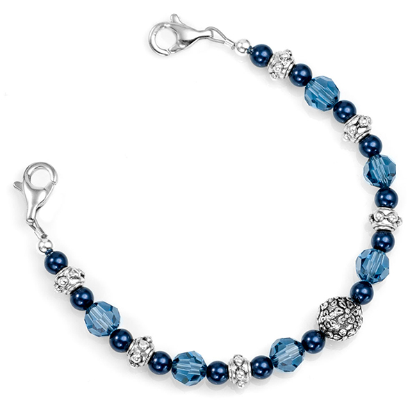 Pretty in Blue Womens Medical Beaded Bracelet  inset 1