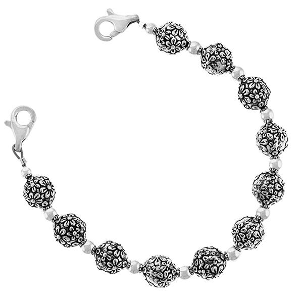 Silver Flower Blossom Womens Medical Beaded Bracelet  inset 1