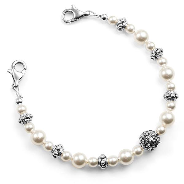 Floral Pearl Womens Beaded Medical Alert Bracelet  inset 1