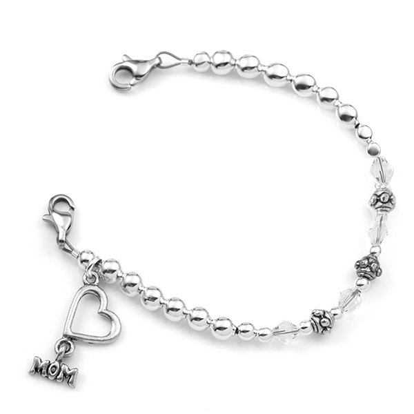 Silver Beaded Medical Bracelet for Mom  inset 1