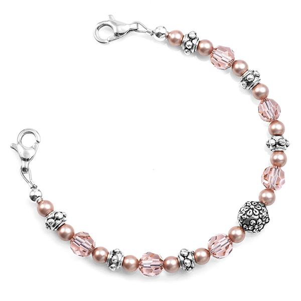 Carnation Pink Beaded Medical Alert Bracelet inset 1