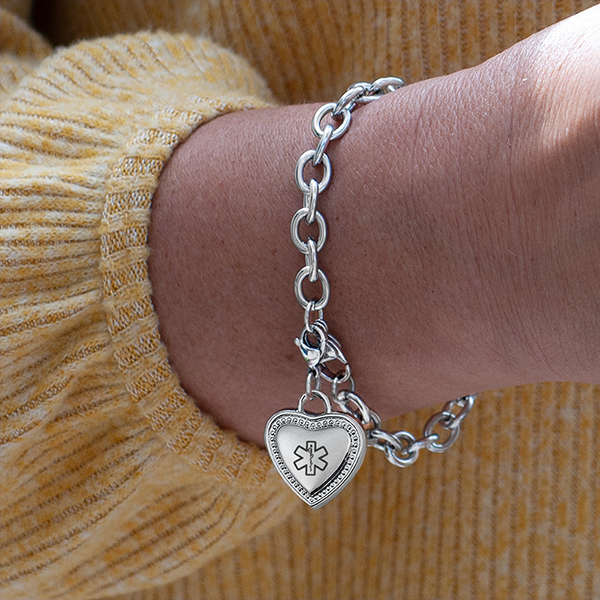 Silver Medical Bracelet with Heart Charm inset 1