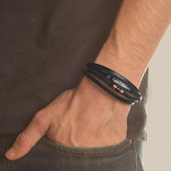Copper and Leather Trendy Stacked Alert ID Bracelet inset 1