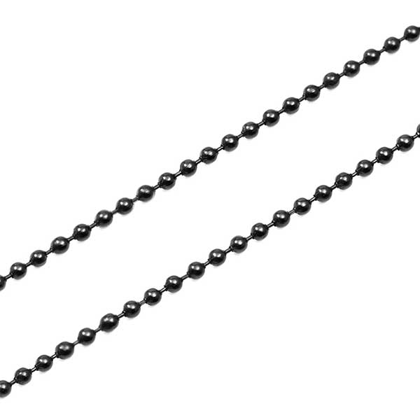 Black Plated Medical Tag Necklace with Black Bead Chain inset 1