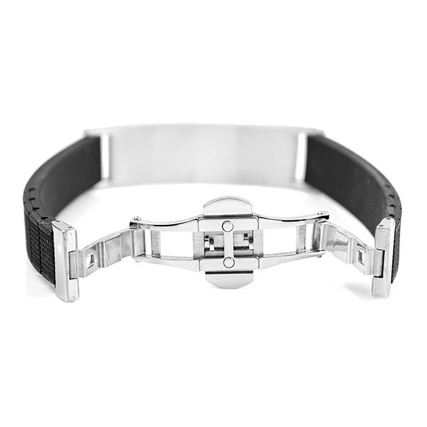 Black Rubber and Steel Mens Medical Bracelet inset 2