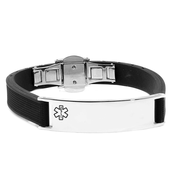 Black Rubber and Steel Mens Medical Bracelet inset 1