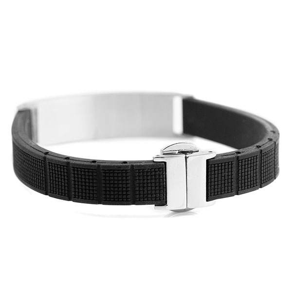 Black Rubber and Steel Mens Medical Bracelet inset 3