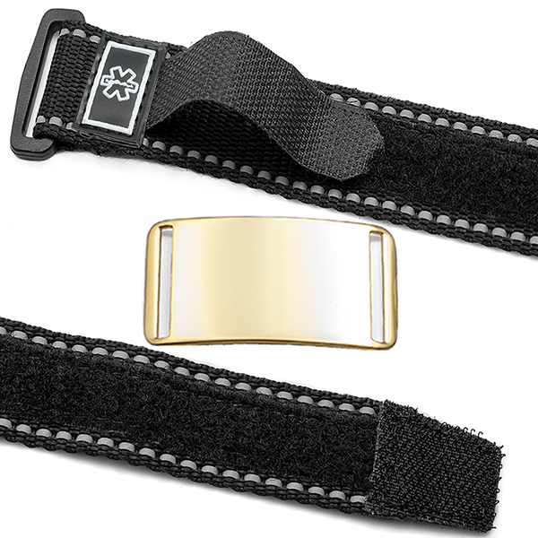 Adjustable Sports Strap Medical Bracelet with Gold Tag  inset 1