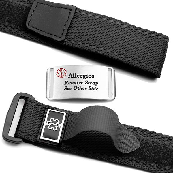 Adjustable Black Sport Allergy Bracelet inset 1