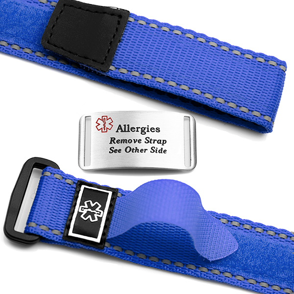 Adjustable Blue Sports Strap Allergy Bracelet inset 1