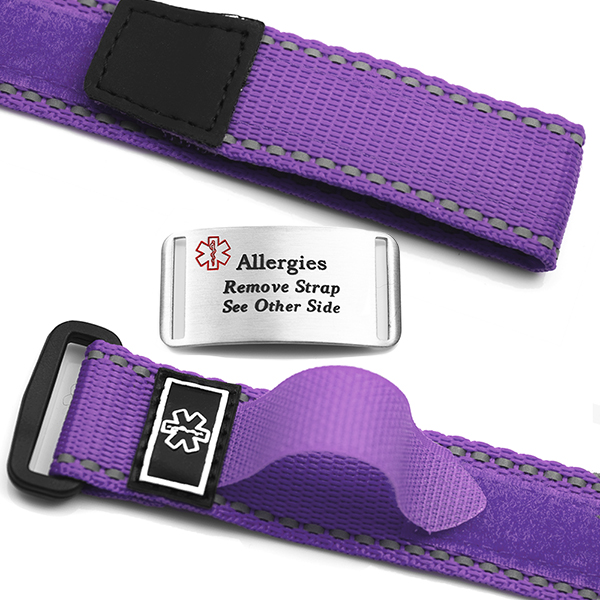 Adjustable Purple Sports ID Allergy Bracelet inset 1