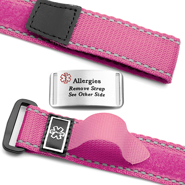 Adjustable Pink Sports Strap Allergy Bracelet inset 1