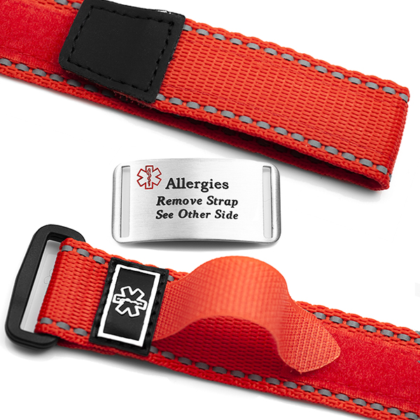 Adjustable Red Sports Strap Allergy Bracelet inset 1