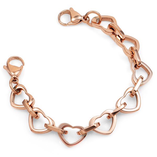 Rose Gold Heart Link Bracelet with Medical Tag inset 1