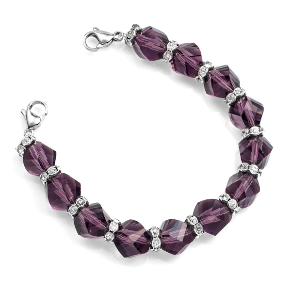 Shimmering Purple Bead Stretch Medical ID Bracelet inset 1