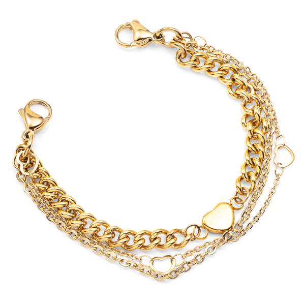 Gold Medical Alert Bracelet with Heart Charms inset 1
