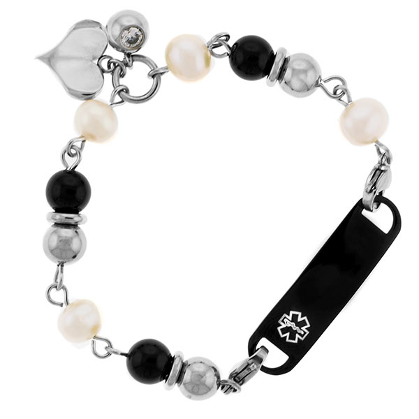 Leiliani Heart Charm Medical Bracelet in Pearl & Onyx inset 1
