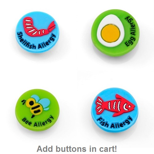 Kids Rubber Medical Alert Allergy Bracelets for Buttons inset 2